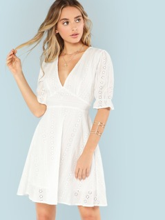 Ruffle Cuff Eyelet Embroidered Plunging Dress