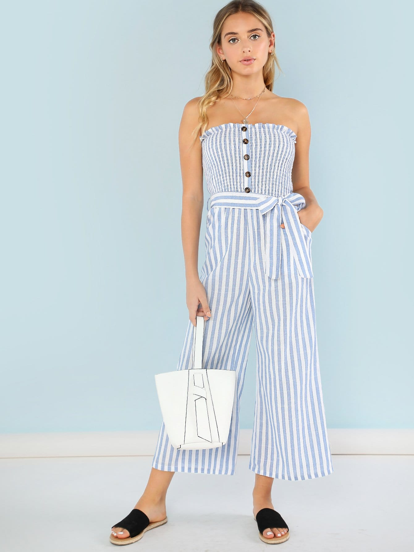 где купить Button Accent Shirred Panel Striped Strapless Jumpsuit дешево