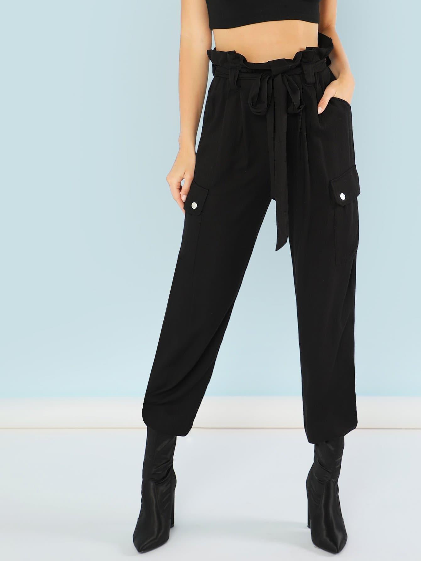 Frill Waist Pocket Patched Pants high waist pocket patched dot skirt