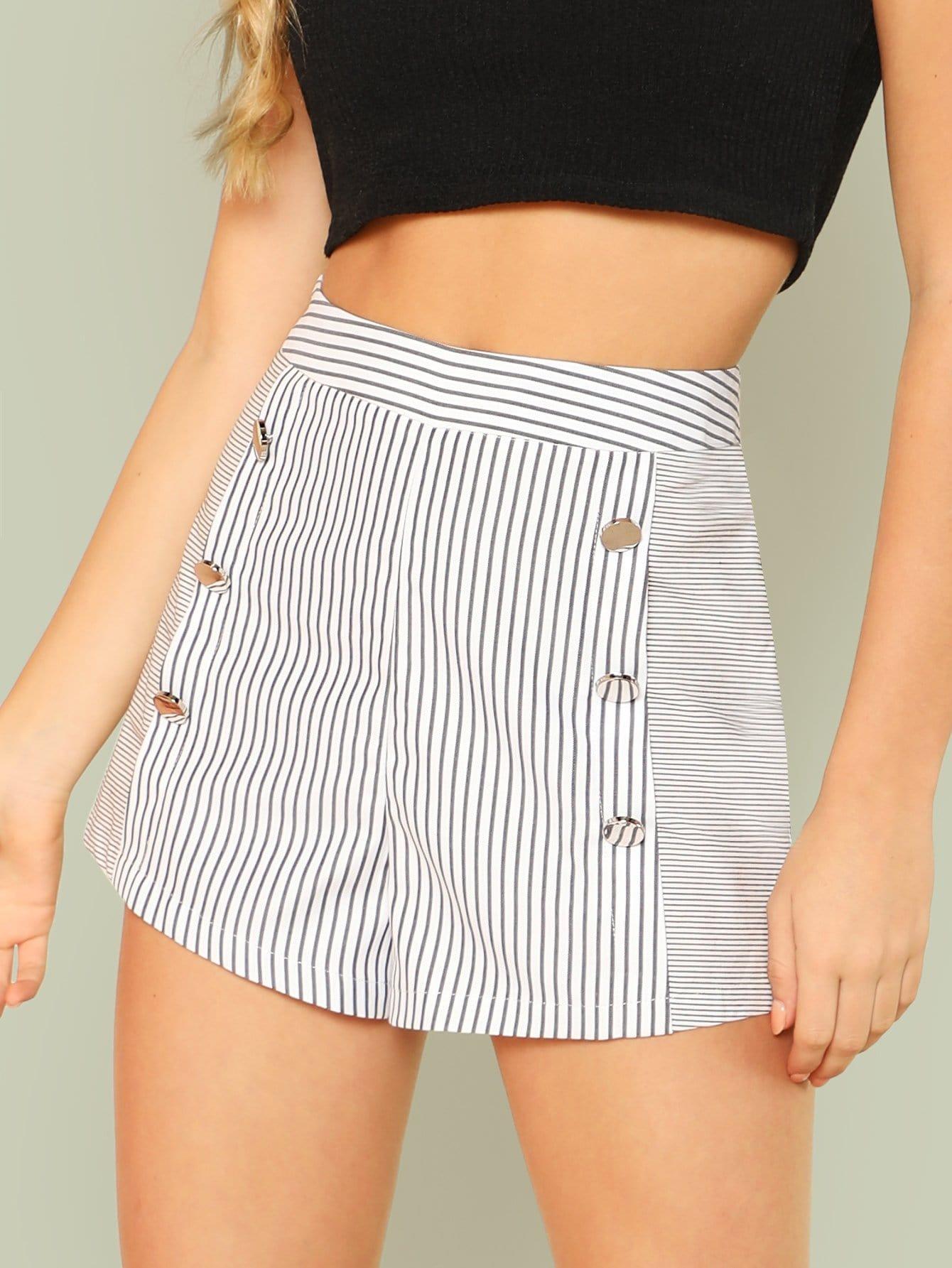Button Embellished Striped Shorts button embellished fit