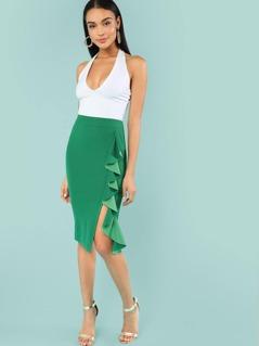 Ruffle Trim Slit Hem Skirt