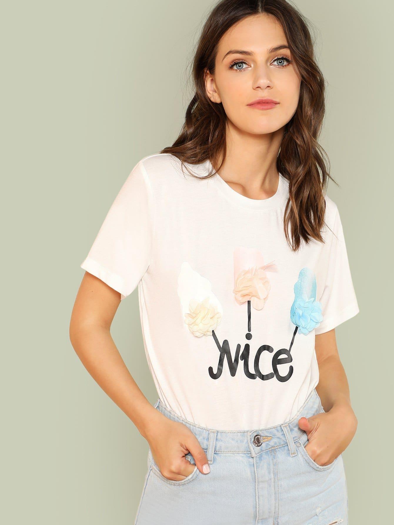 Flower Applique Graphic T-shirt redfox футболка flower t 42 4300 желтый