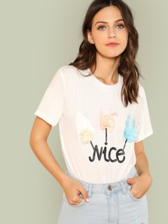 Flower Applique Graphic T-shirt