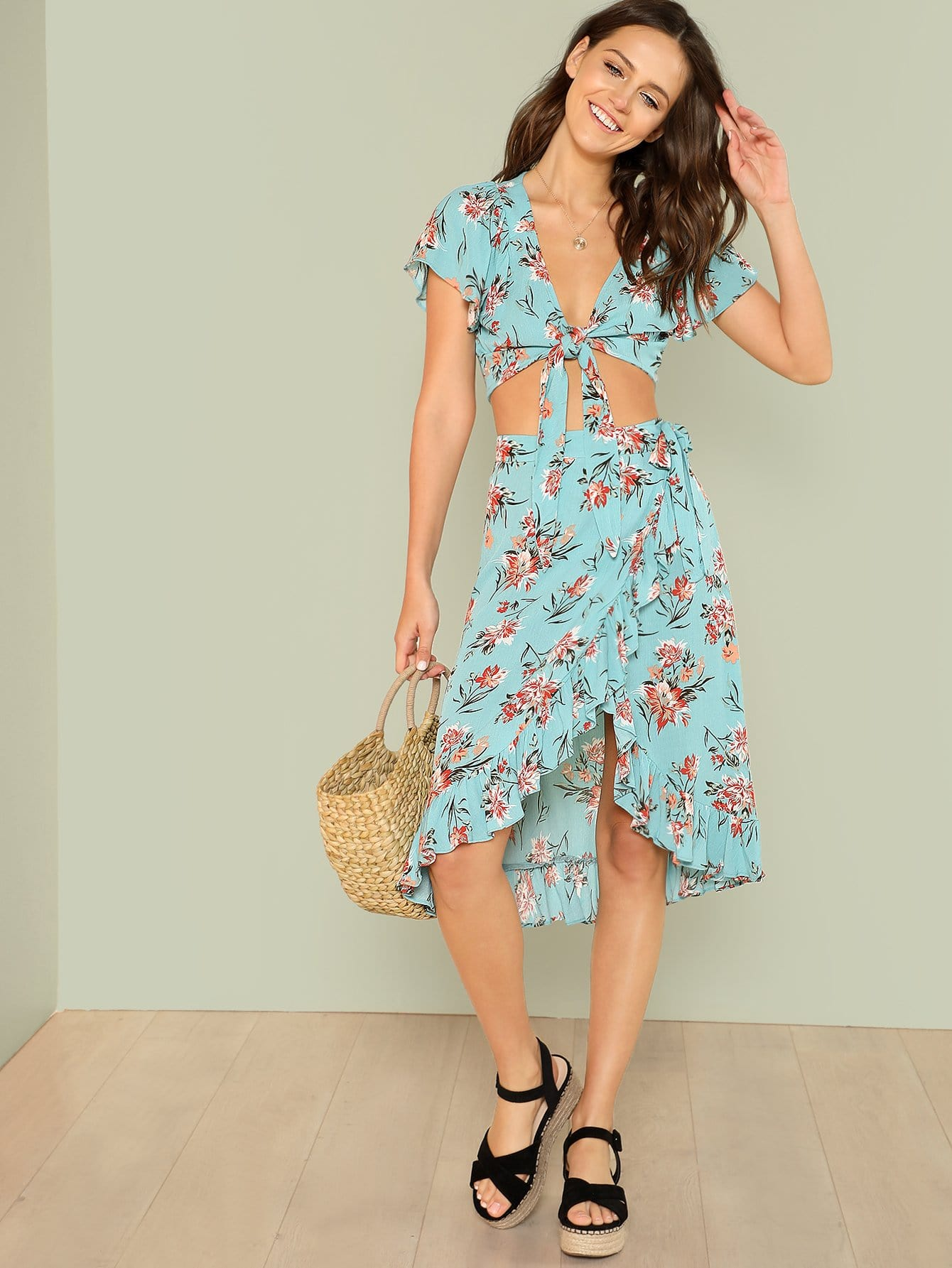 Knot Floral Top & Asymmetrical Ruffle Hem Skirt Set asymmetrical hem knot back halter top