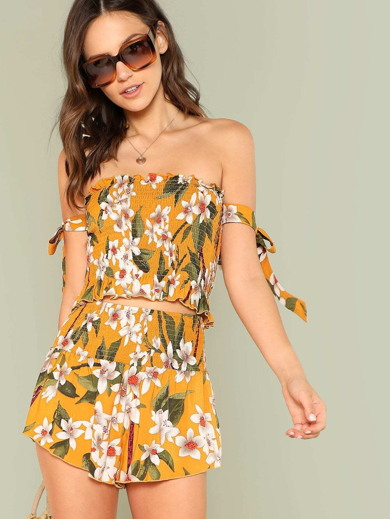 Flower Print Shirred Bardot Top & Shorts Set flower print shirred bardot top