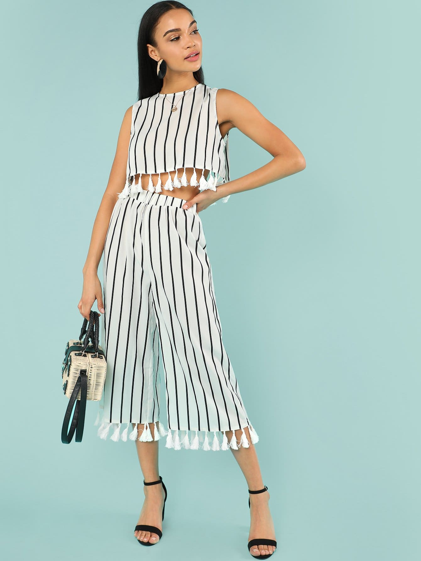 Tassel Trim Striped Shell Top & Culotte Pants Set lace trim shell top