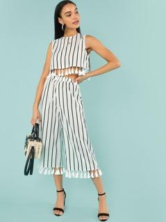 Tassel Trim Striped Shell Top & Culotte Pants Set