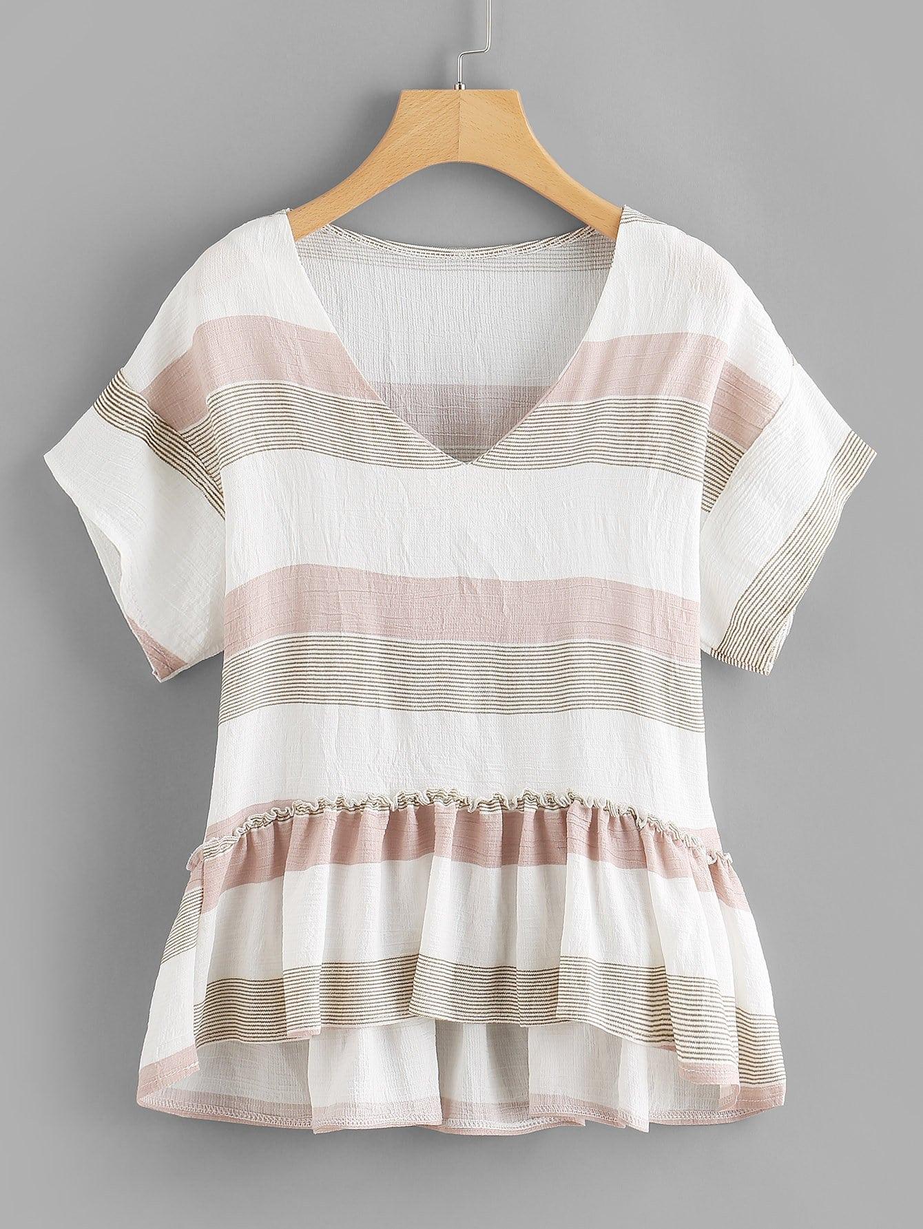 Contrast Striped Pep Hem Blouse contrast striped button back pep hem blouse