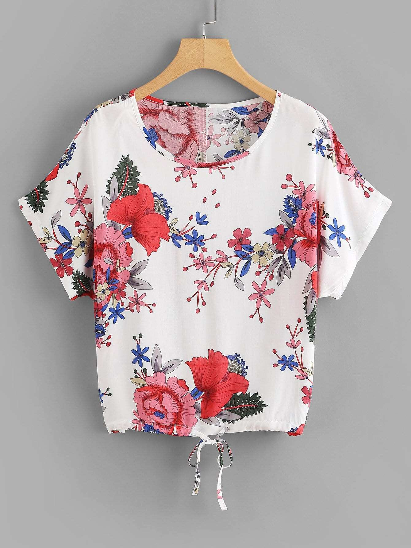 Floral Print Drawstring Hem Blouse tree print drawstring hem hooded blouse