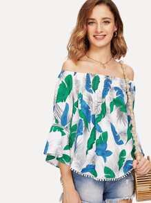 Off Shoulder Tropical Print Blouse