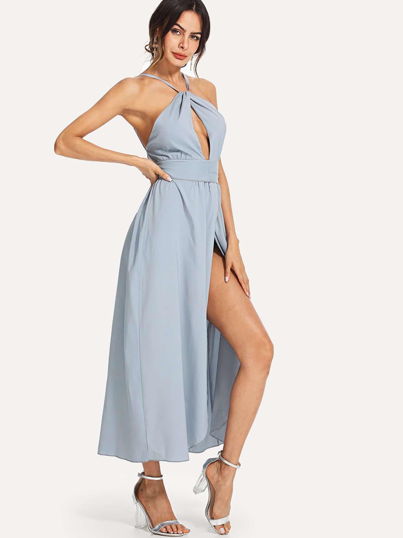 Купить Платье хальтер с открытой спиной и разрезами, Andy, SheIn