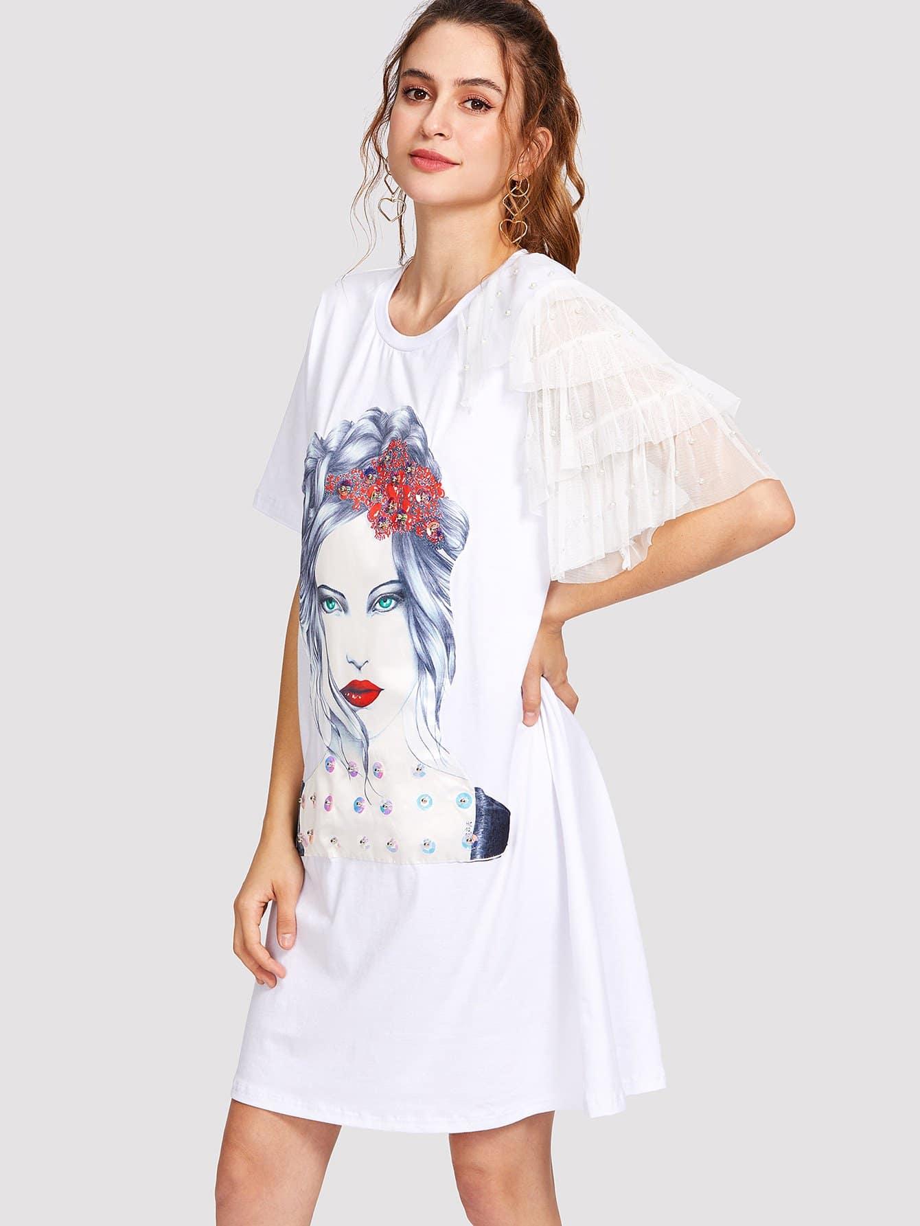 Tiered Mesh Sleeve Figure Print Dress swan print tiered mesh dress