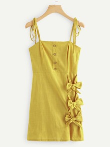 Bow Tie Side Button Detail Cami Dress