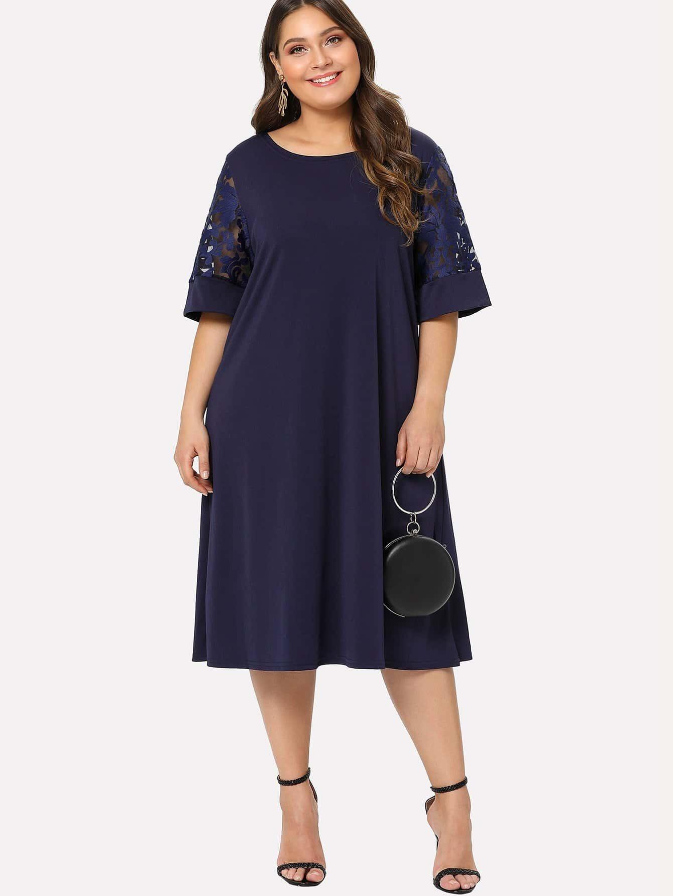 Plus Mesh Panel Sleeve Dress mesh panel sleeve dress