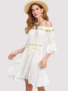 Off Shoulder Tassel Trim Crochet Panel Dress