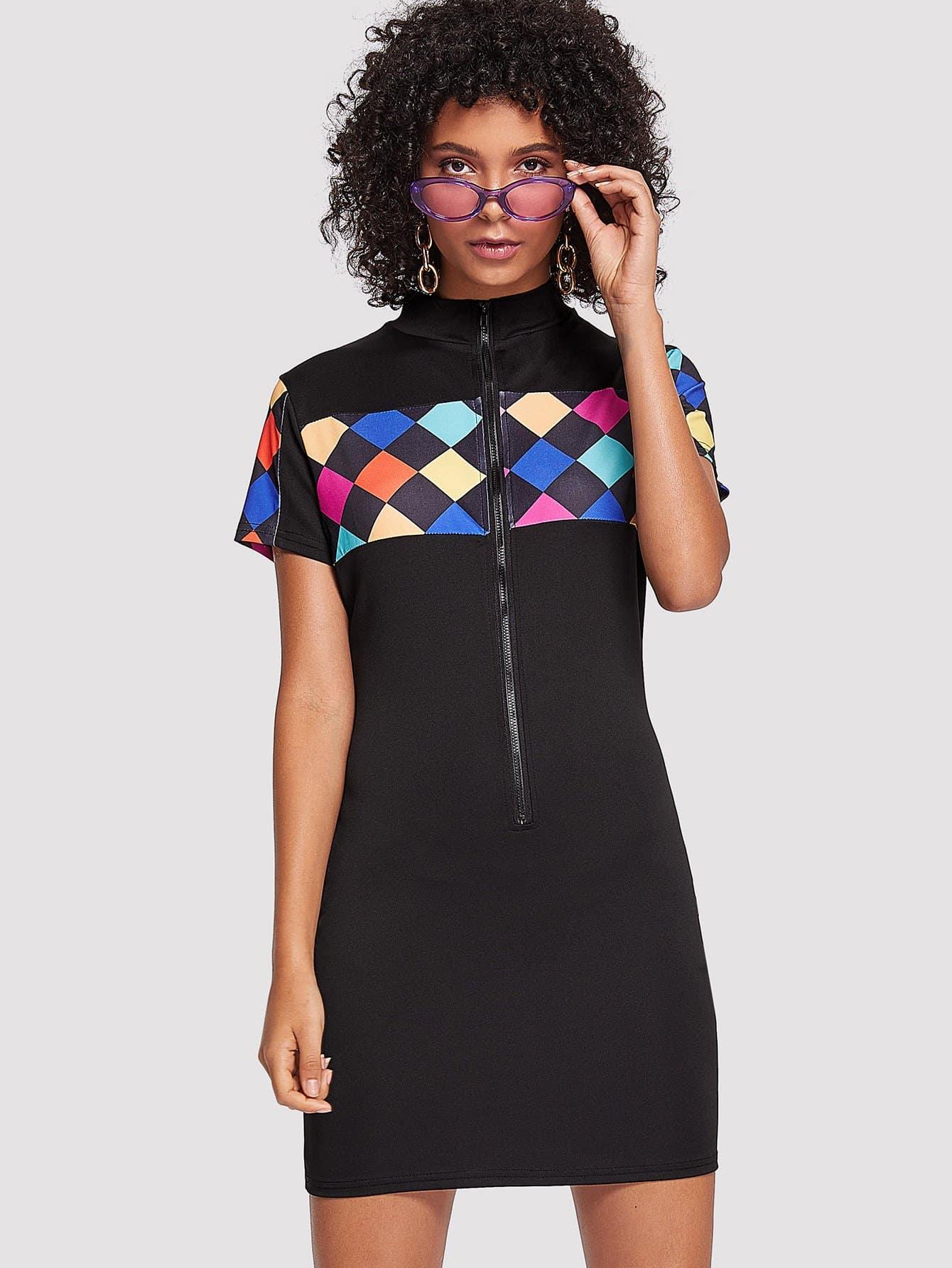 Geo Print Zip Front Dress zip front tank dress