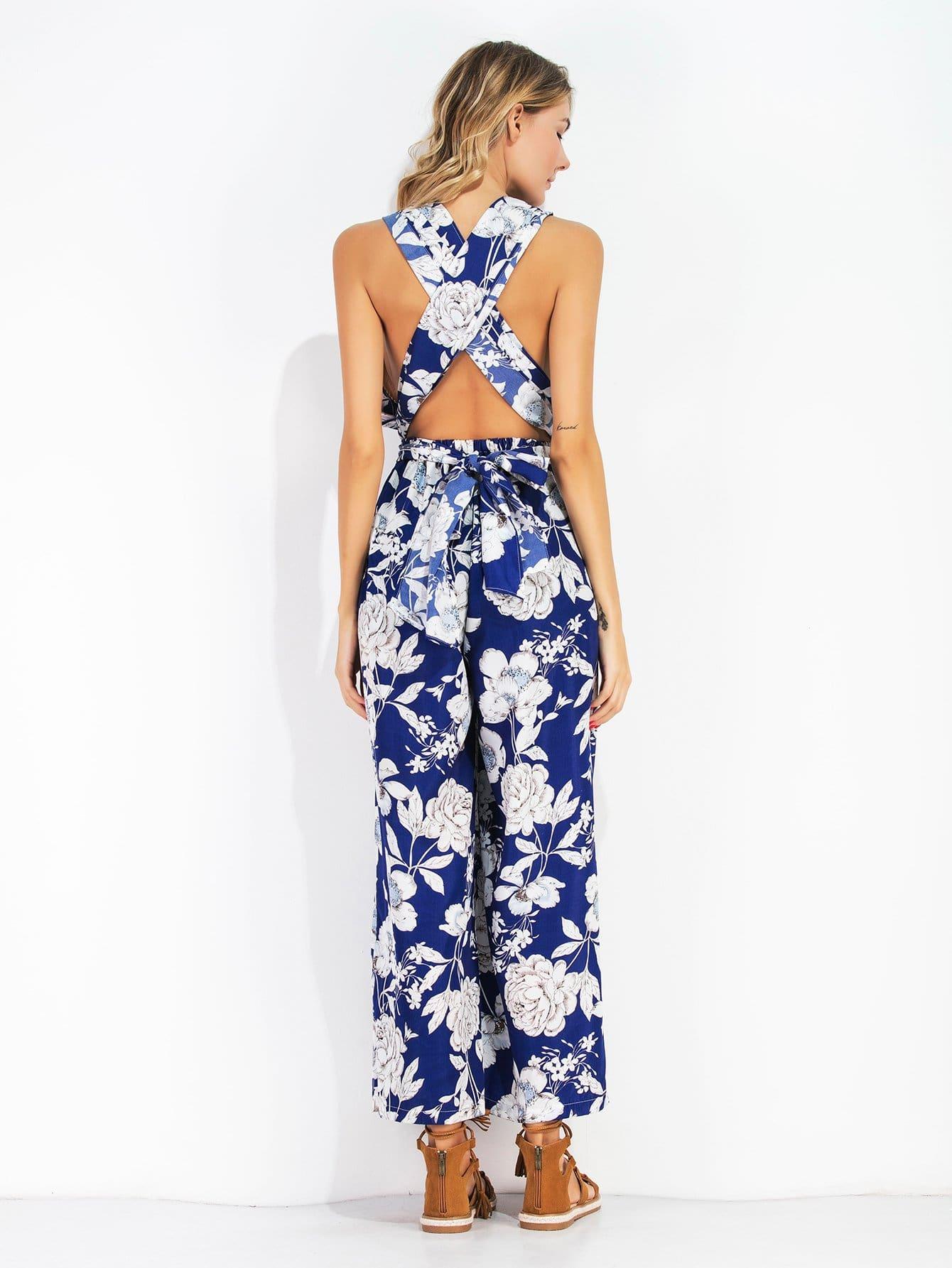 Criss Cross Tie Back Floral Print Jumpsuit criss cross back scallop trim drawstring waist jumpsuit