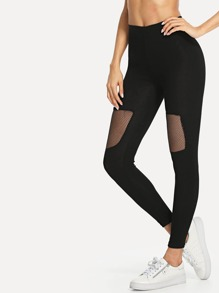 Fishnet Mesh Insert Leggings