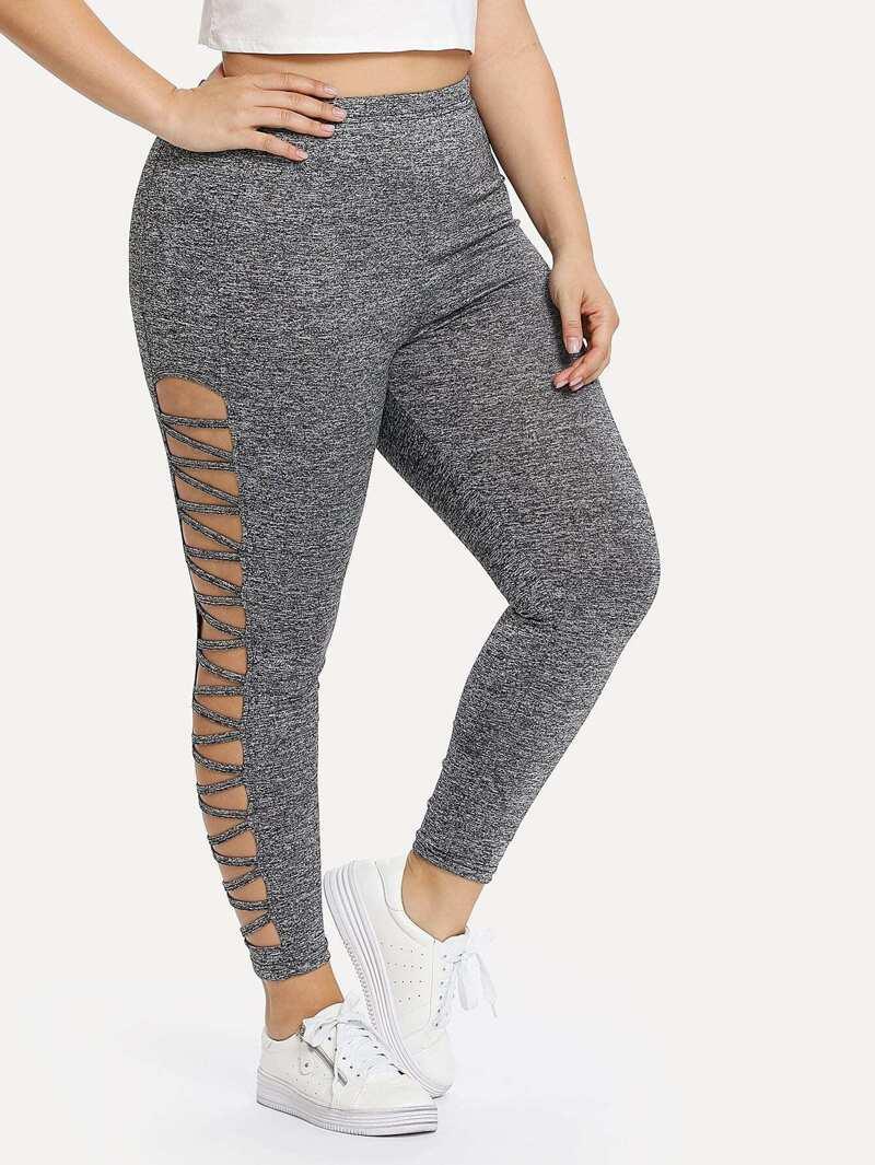 Plus Cut Out Side Leggings, Grey