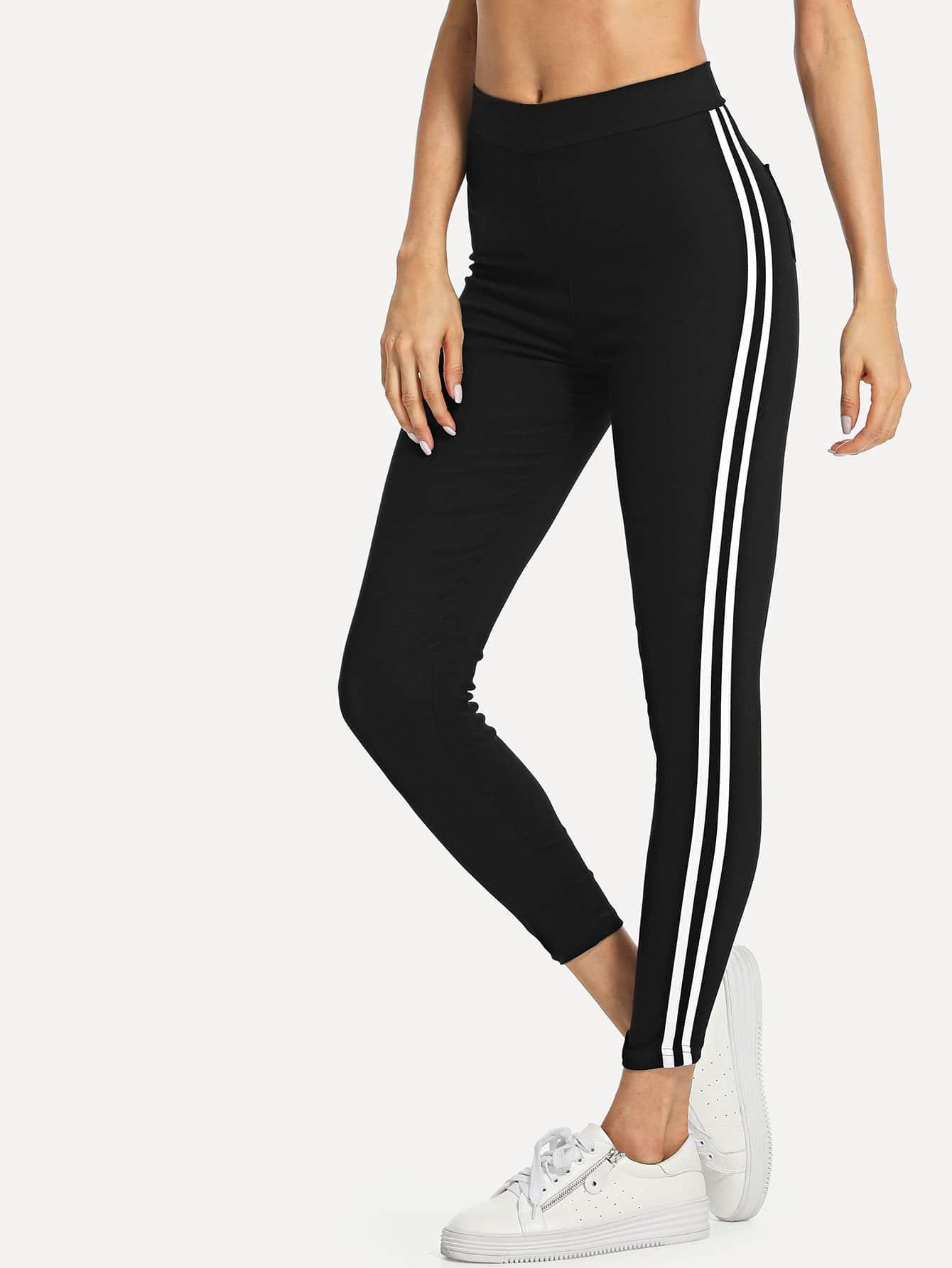 Striped Tape Side Leggings lettering tape side skinny leggings