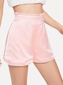 Contrast Binding Frill Trim Shorts