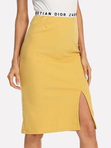 Letter Tape Waist Split Skirt