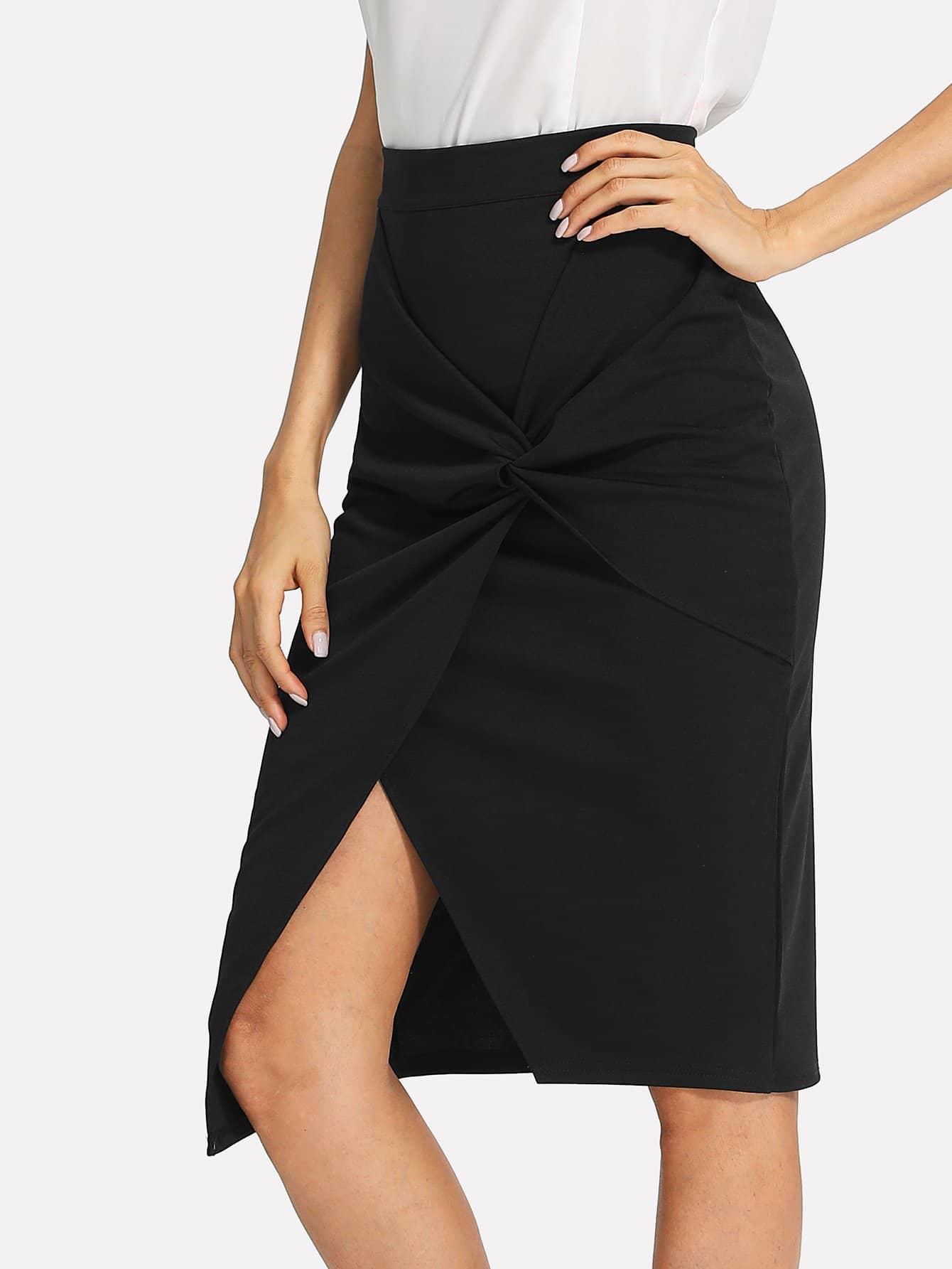Купить Однотонная юбка с заворотом, Andy, SheIn