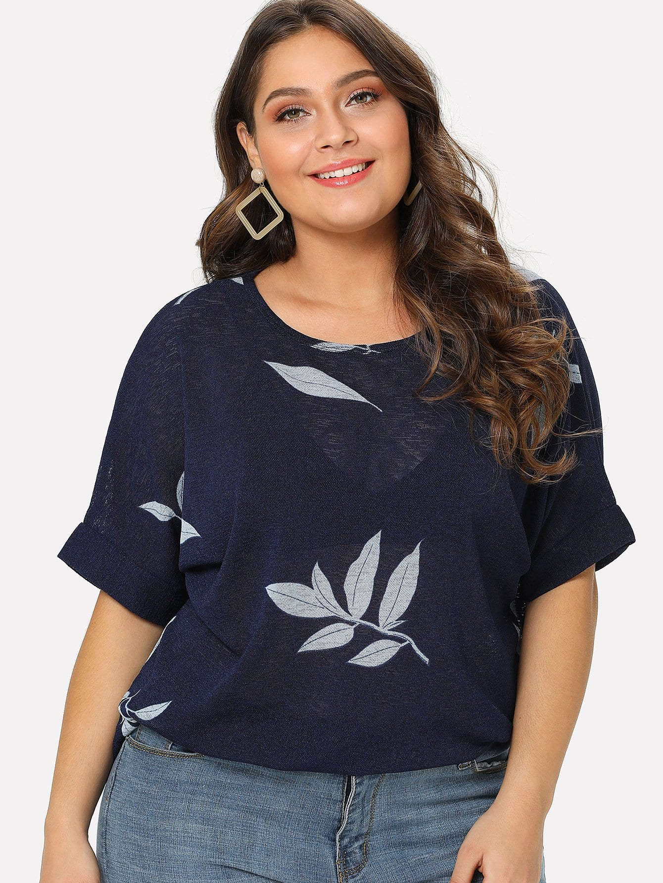 Leaves Print Roll Up Sleeve Tee stripe print roll up sleeve crop tee