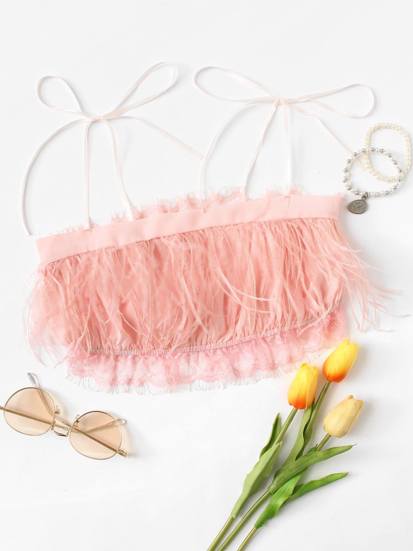 Eyelash Lace Trim Feather Fringe Cami Top feather print fringe embellished eyelet crochet top