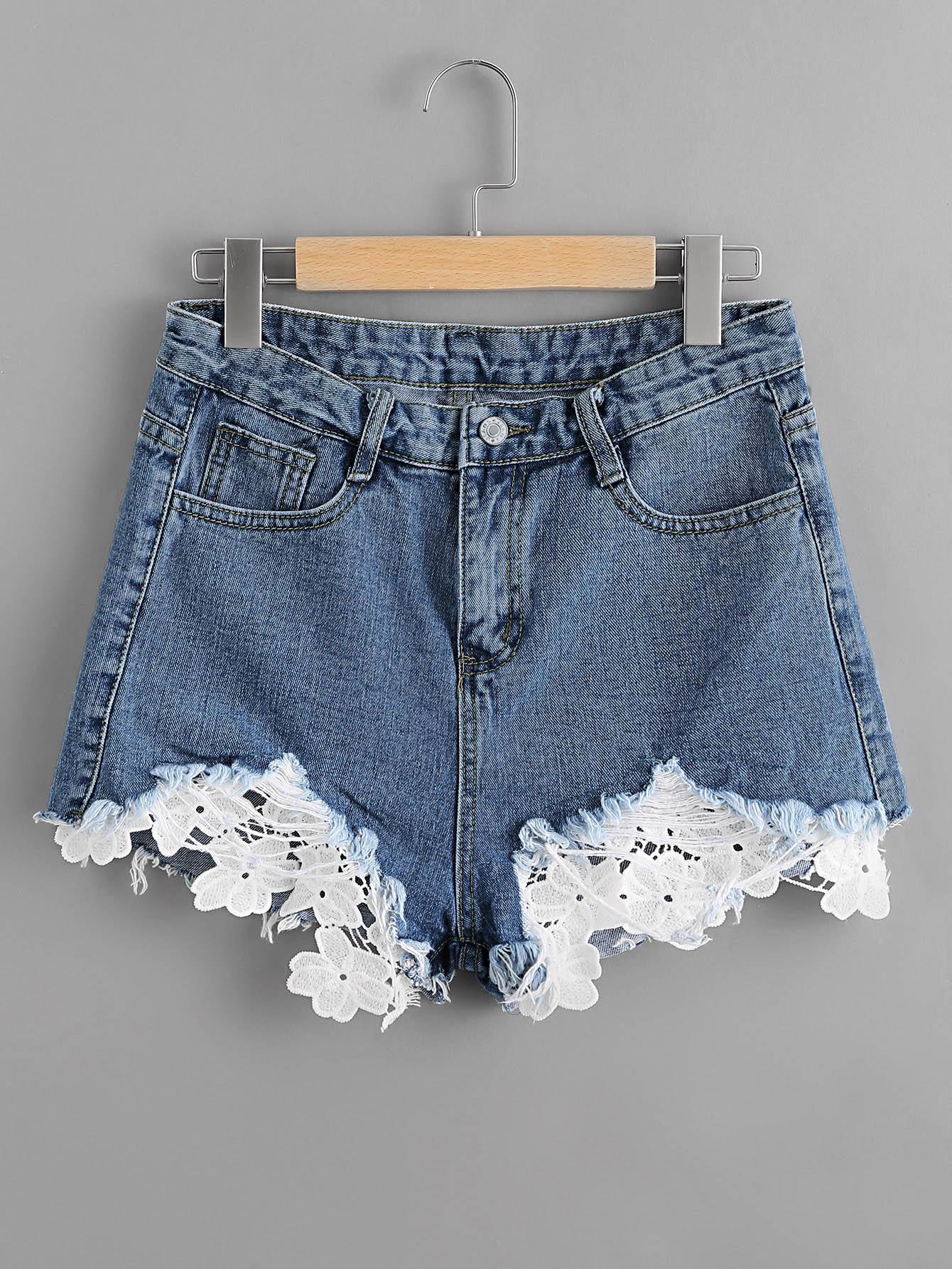 Contrast Lace Frayed Hem Denim Shorts contrast pleated sleeve frayed hem tweed dress