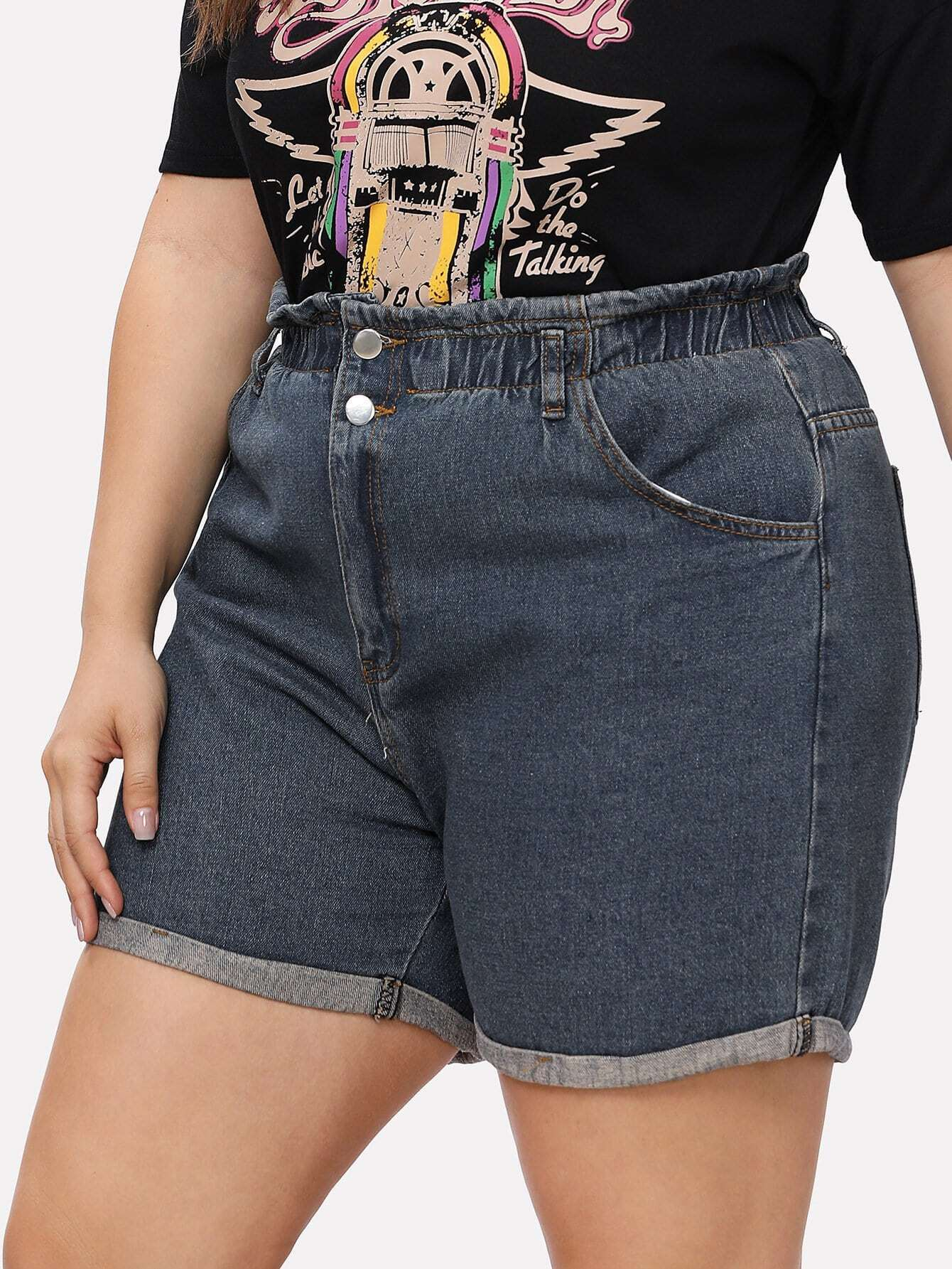Roll Up Elastic Waist Denim Shorts elastic waist button denim dress