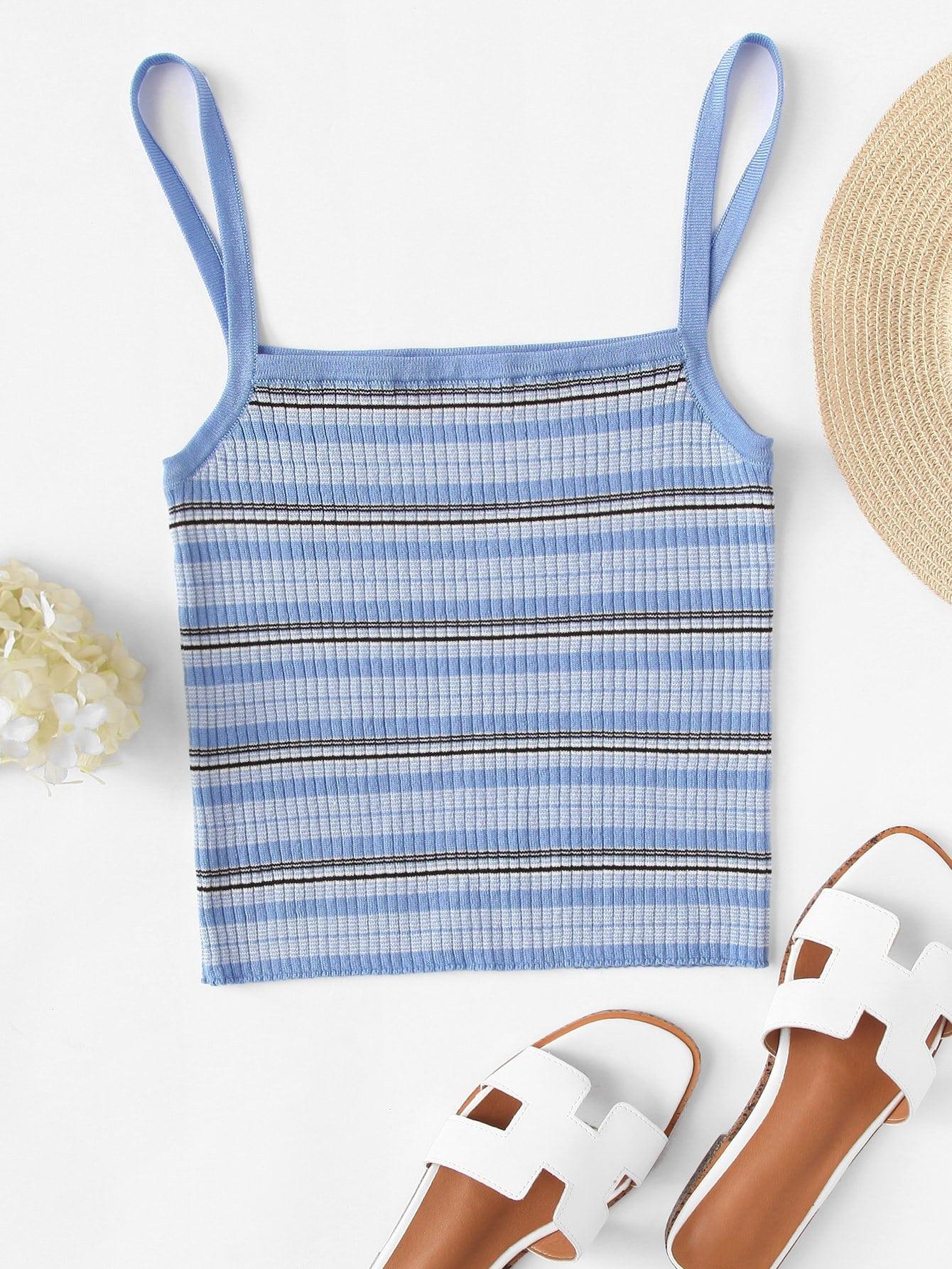 Rib Knit Striped Cami Top striped rib knit top