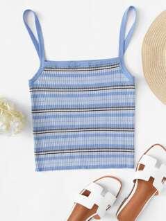 Rib Knit Striped Cami Top