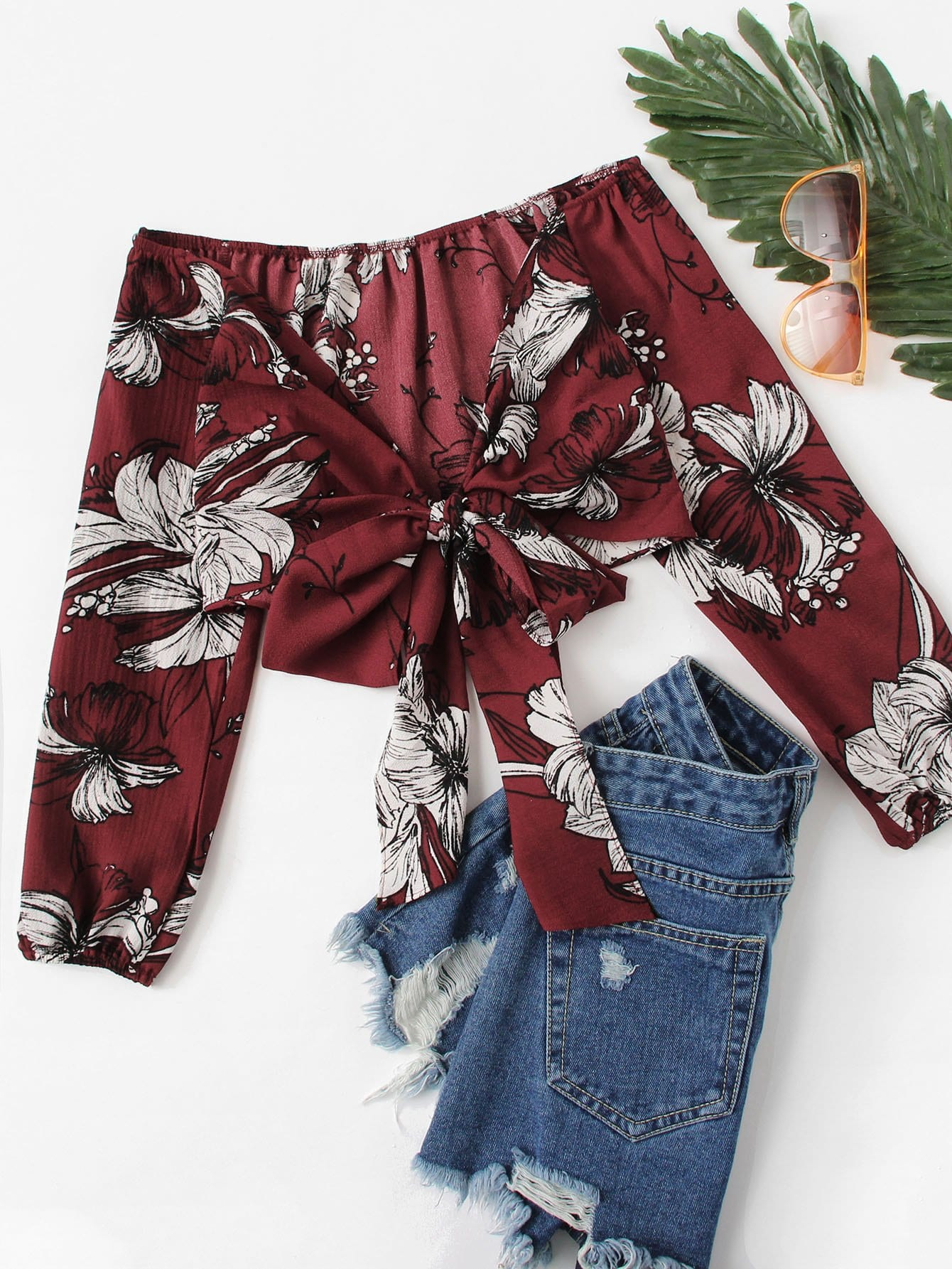 Купить Сексуальная блуза Цветочный с бантом Бордовый Блузы+рубашки, null, SheIn