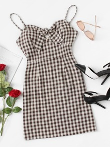 Knot Front Checked Cami Dress