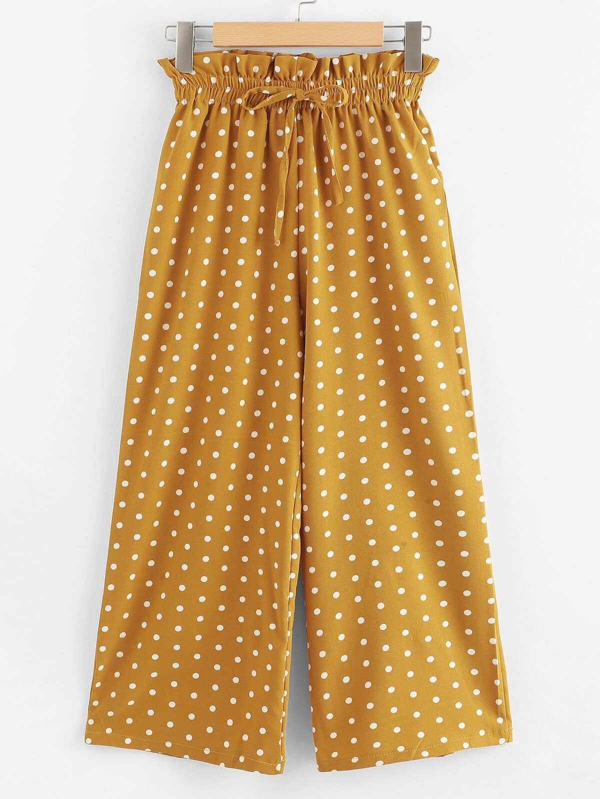 Frill Trim Polka Dot Pants by Romwe