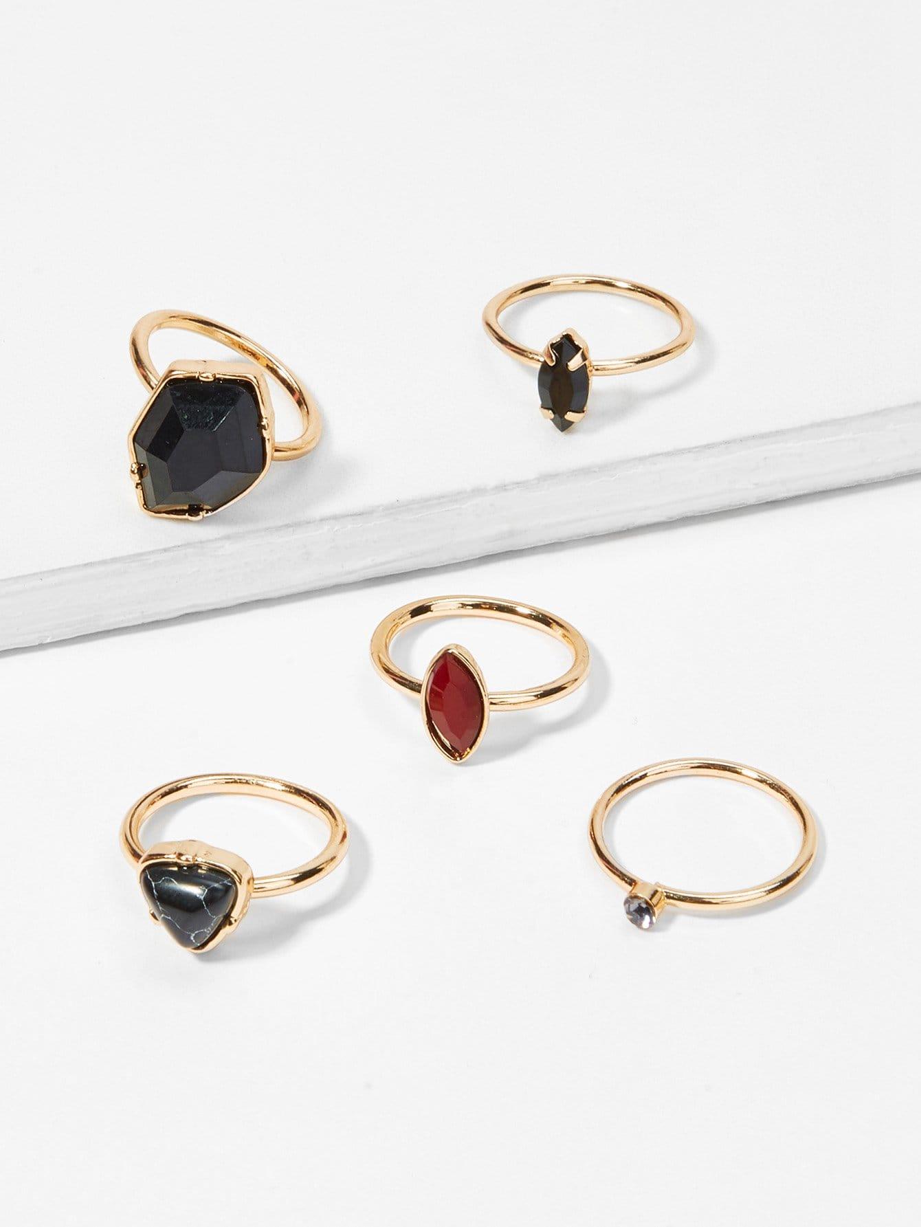 Contrast Geometric Ring Set geometric fake diamond embellished ring