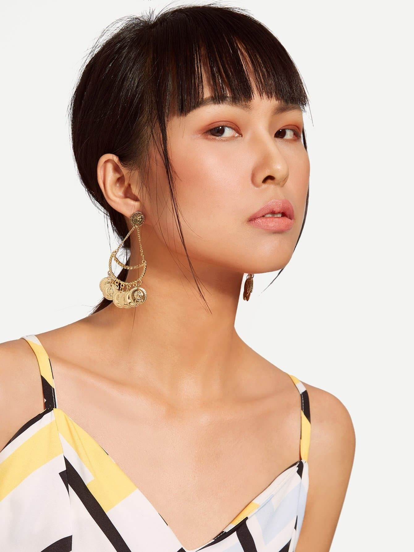 Mini Flake Design Drop Earrings two tone round flake drop earrings