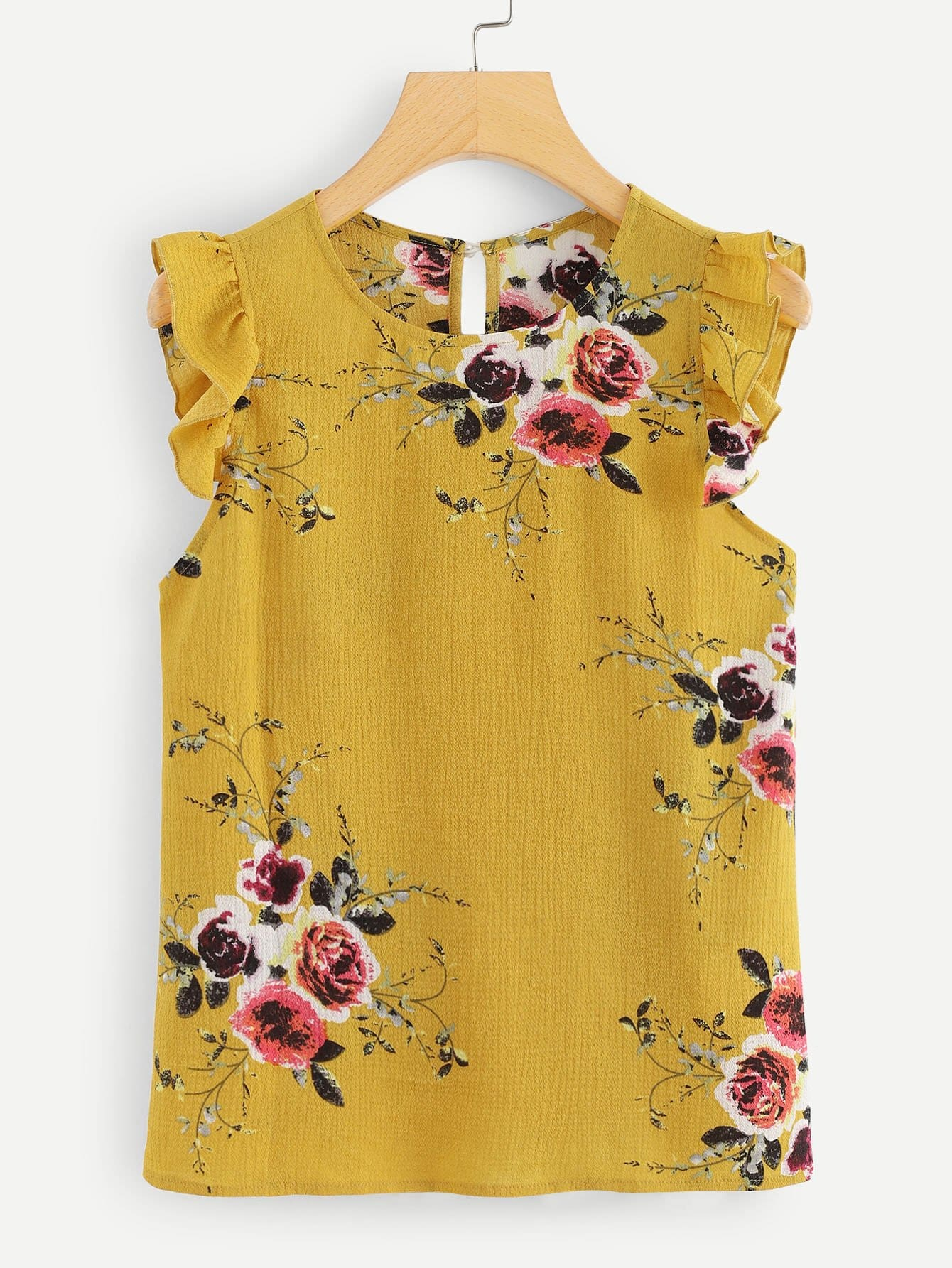 Frilled Armhole Button Closure Back Shell Top button front frilled detail top