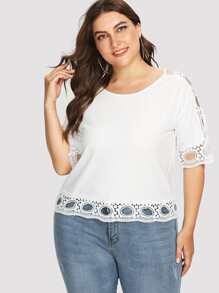 Dot Lace Embellished Top