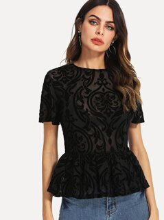 Damask Semi Sheer Mesh Peplum Top
