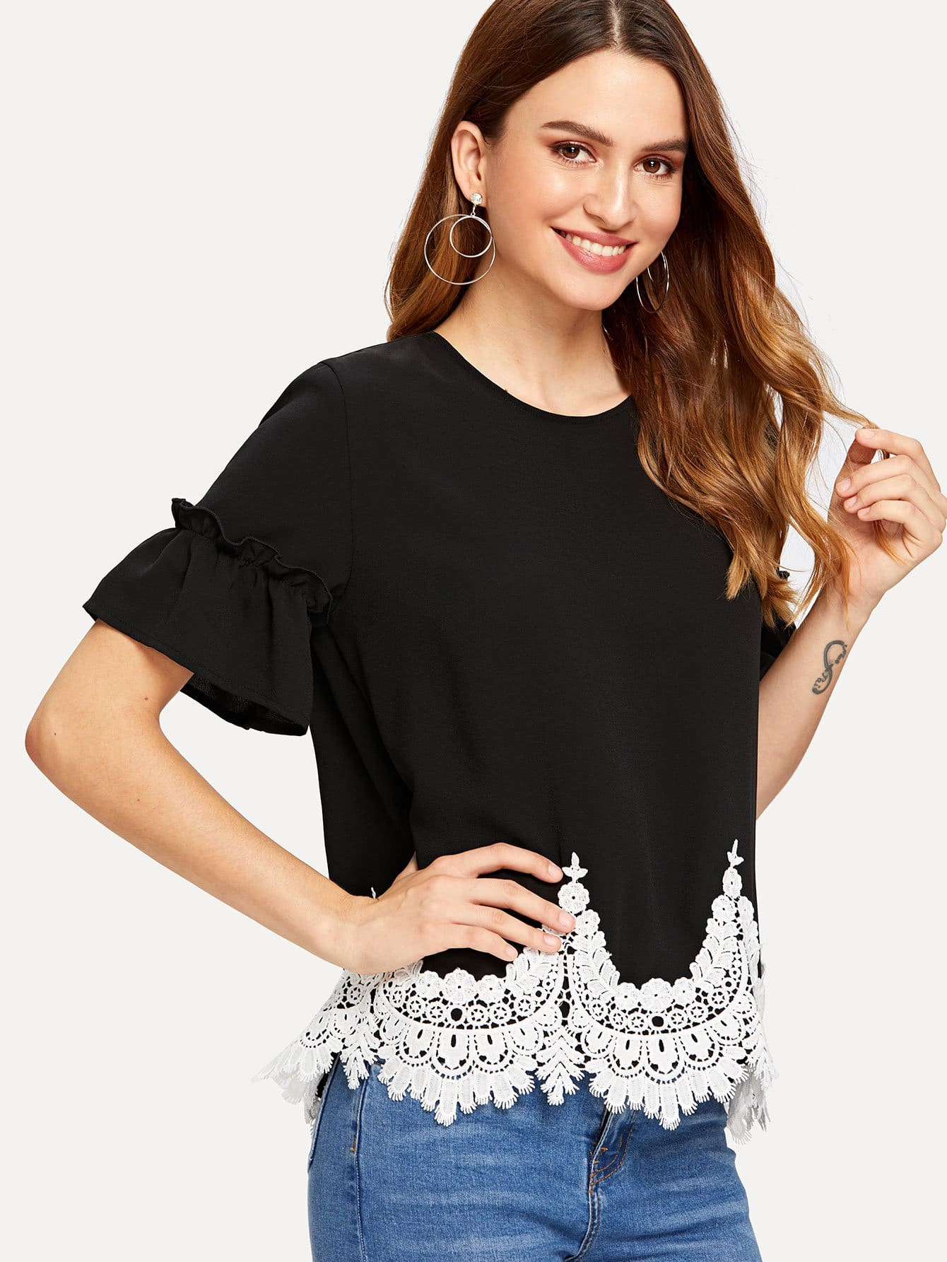 Contrast Lace Hem Flounce Sleeve Blouse lace contrast sleeve hanky hem dress