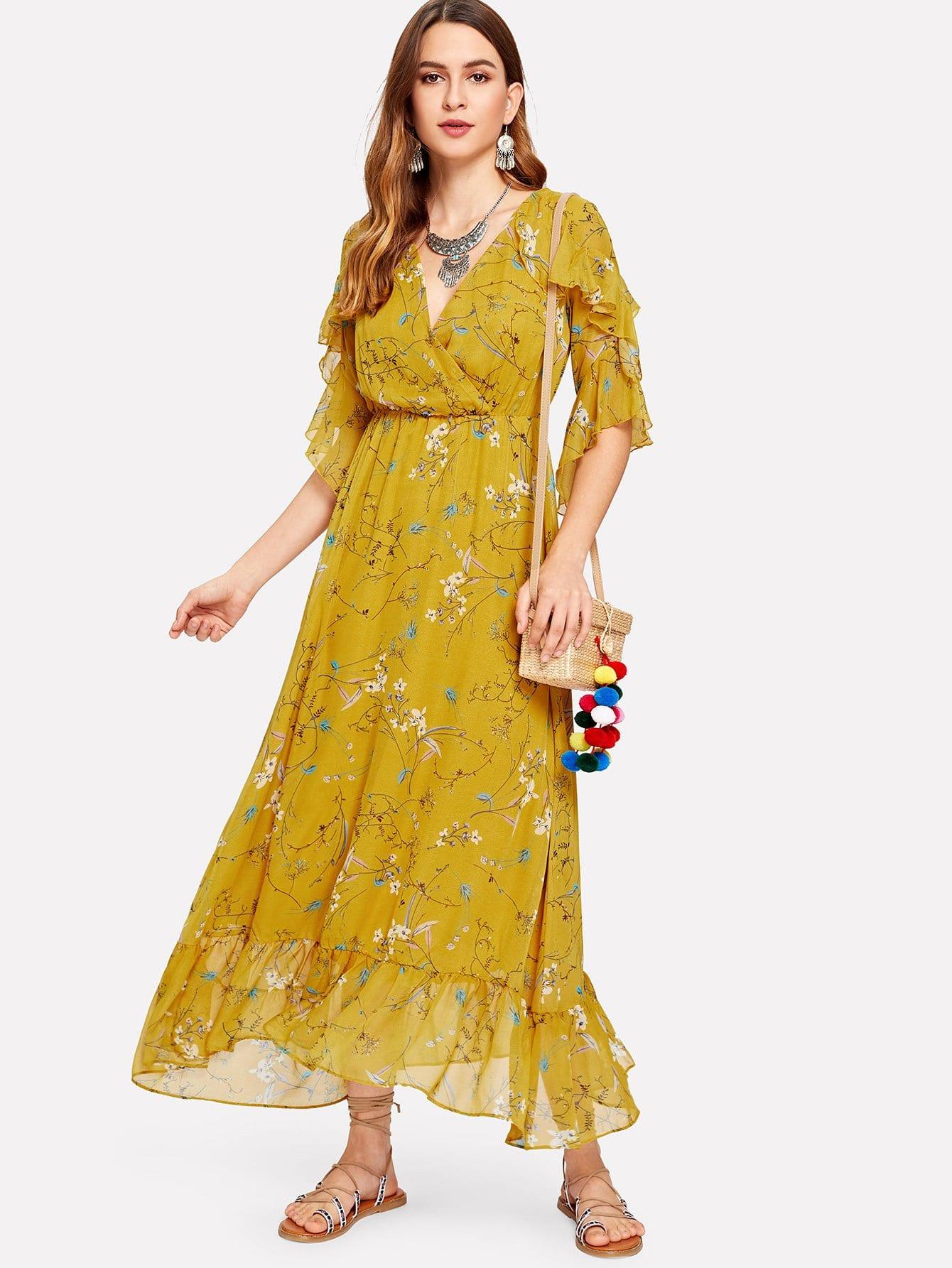 Ruffle Sleeve Overlap Front Botanical Dress overlap front m slit velvet dress