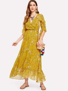 Ruffle Sleeve Overlap Front Botanical Dress