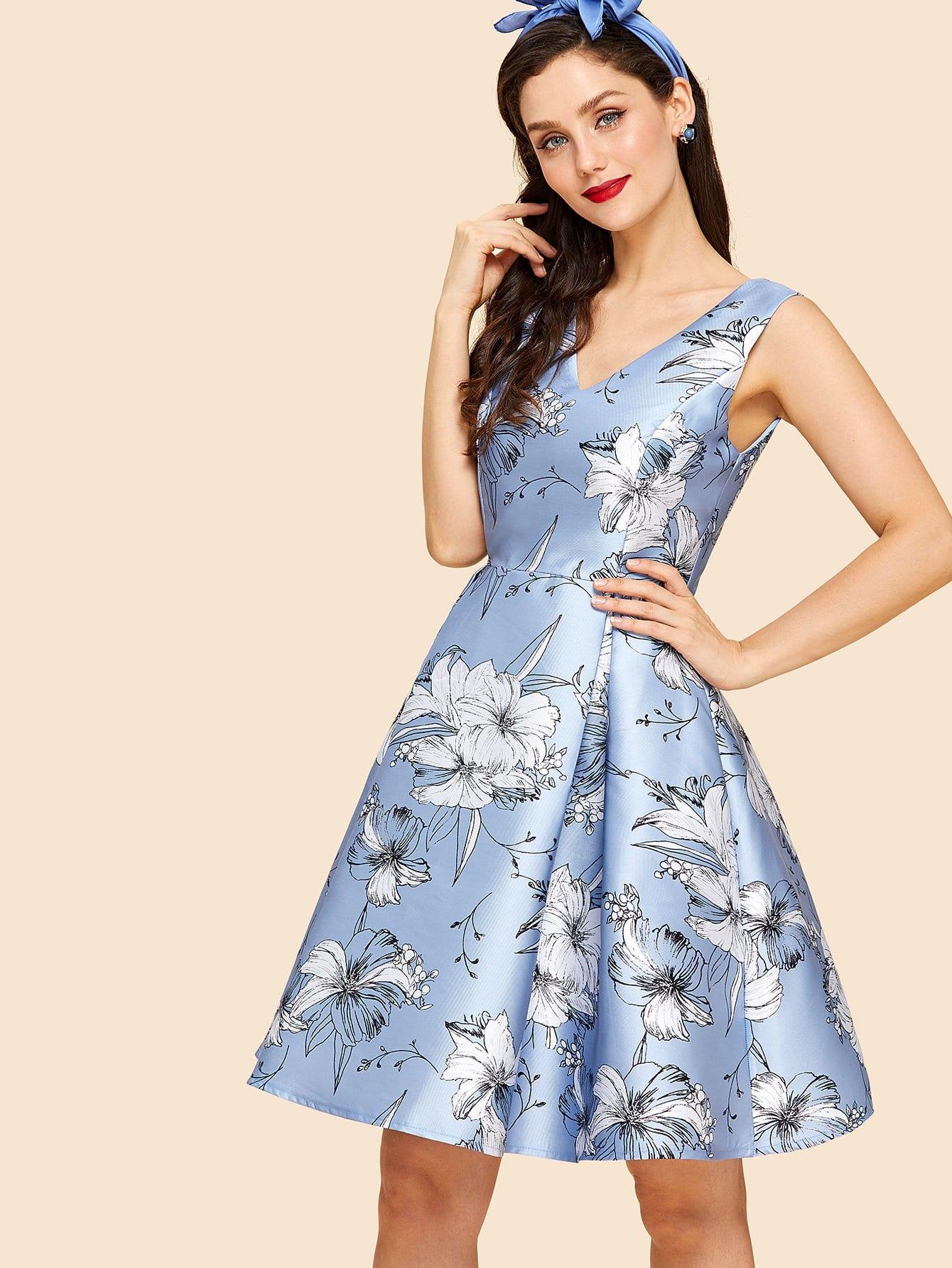 Flower Print Box Pleated Fit & Flare Dress flower print box pleated skirt