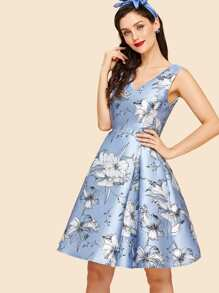 Flower Print Box Pleated Fit & Flare Dress