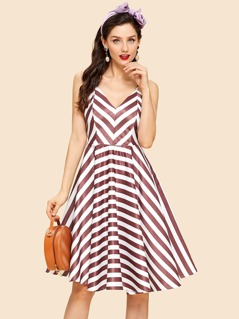 Chevron Stripe Print Cami Dress