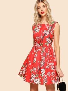 Flower Blossom Print Box Pleated Dress