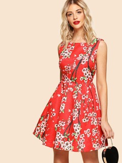 Flower Blossom Print Box Pleated Dress
