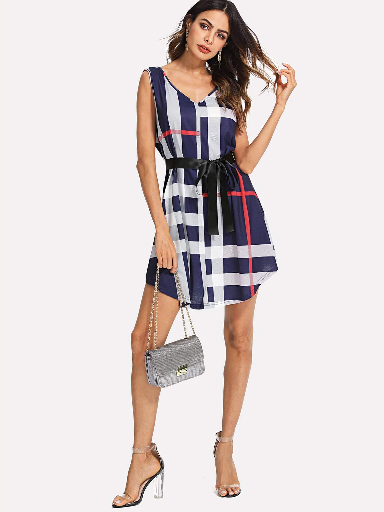 Plaid Print Sleeveless Dress zip back fit and flared plaid dress